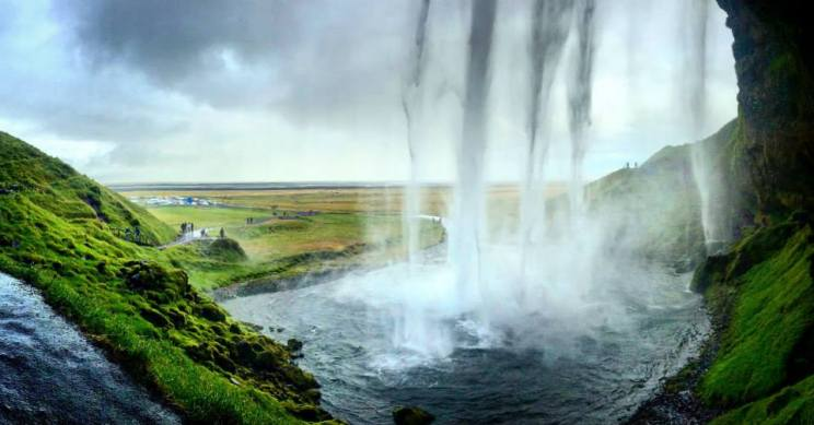 Seljalandsfoss, a waterfall on the south coast of Iceland. This photo was taken from behind the waterfall.