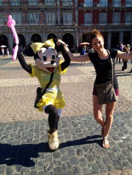 Dancing with Minnie in Plaza Mayor, Madrid! Not a bad way to spend a layover.