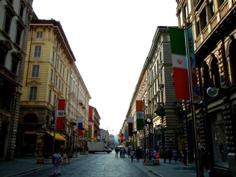 The walk to Milano Centrale, the station where we took our train back to the airport! International flags lined the street for the World Expo 2015, which happened in Milan from May to October.
