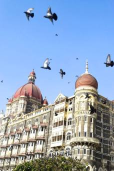 The Taj Mahal Palace, a luxurious Mumbai hotel overlooking the Gateway of India.