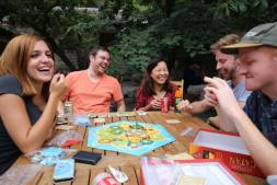A fiercely competitive game of Settlers of Catan (which I won, of course)